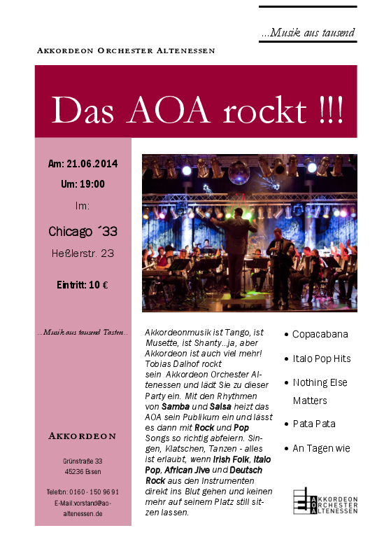 Flyer Chicago Konzert A5
