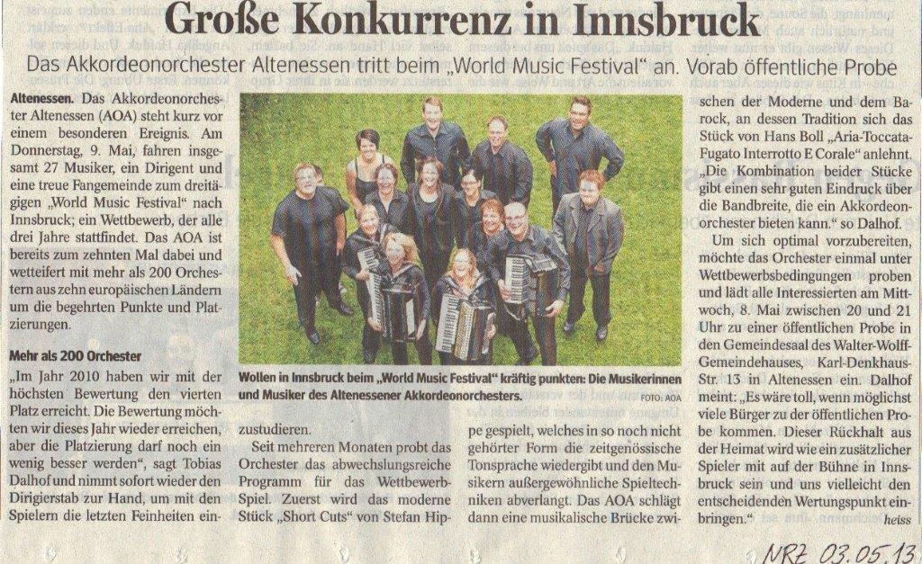 Presse Öffentliche Probe 03.05.2013