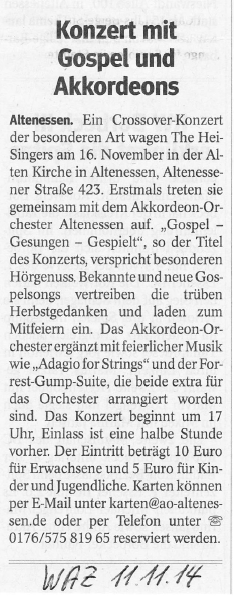 WAZ_11.11.14_Gospelkonzert